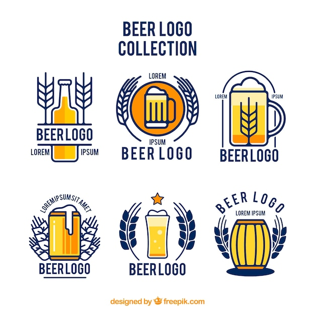 Flat beer logo collection Free Vector