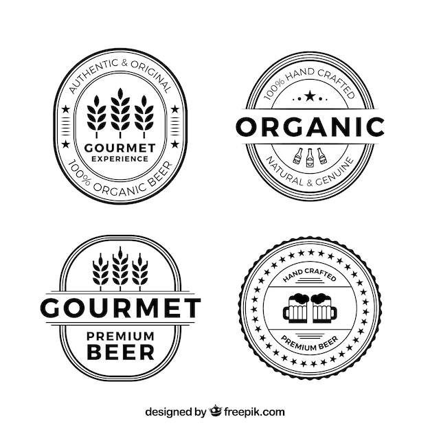 Flat beer logos collection Free Vector