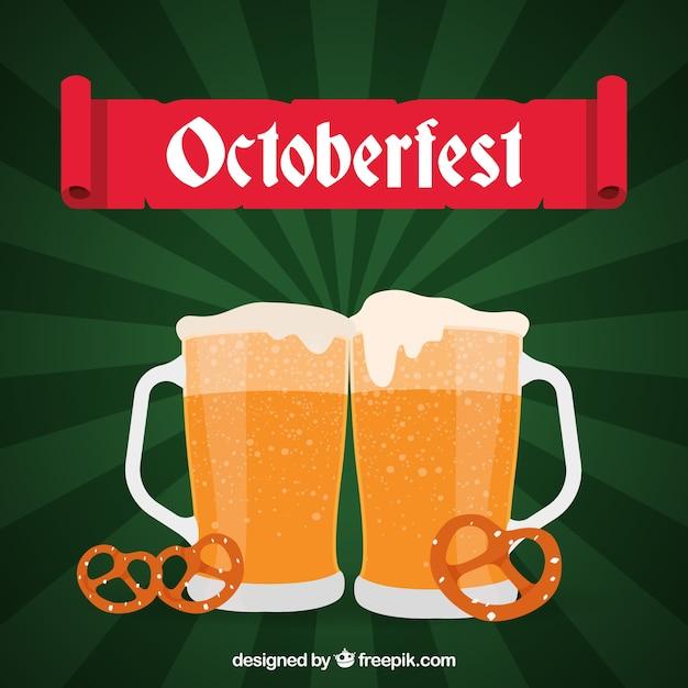 Flat beer mugs and pretzels