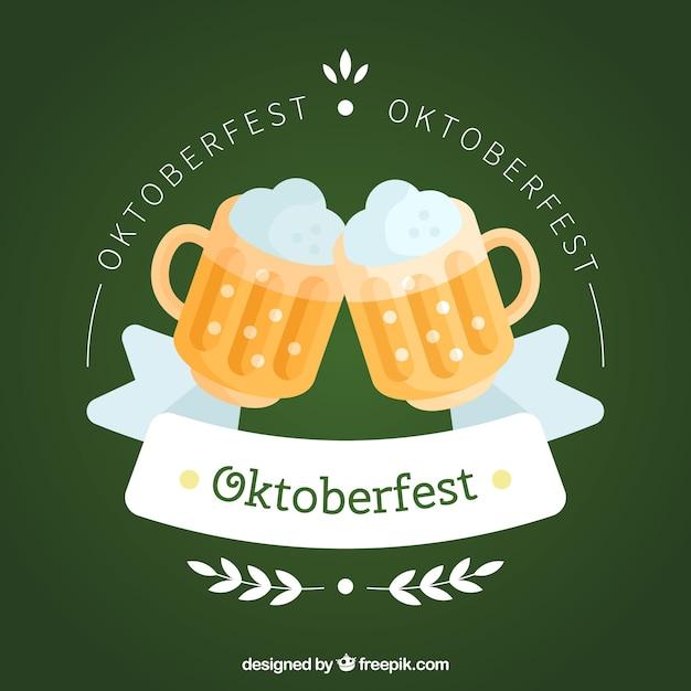 Flat beer mugs toasting with ribbon
