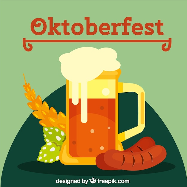 Flat beer, sausage and wheat in the oktoberfest