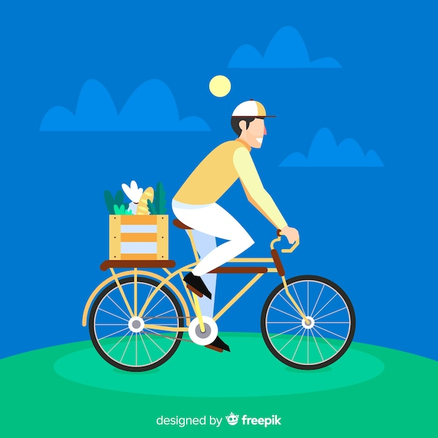Flat bicycle delivery concept Free Vector