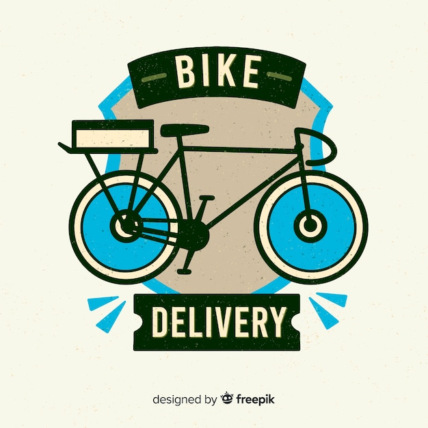 Flat bicycle delivery logo Free Vector