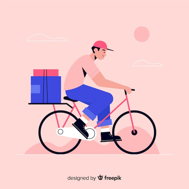 Flat bicycle delivery with packages background Free Vector