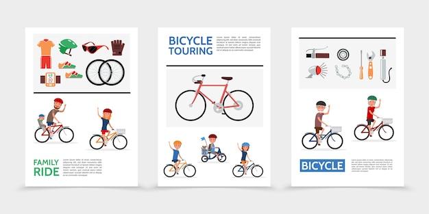 Плоские велосипедные плакаты Бесплатные векторы