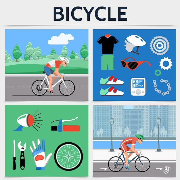 Flat bicycle square concept with cyclists riding bikes on road sportswear helmet chain speedometer gears sneakers Free Vector
