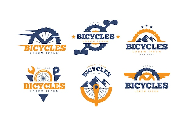 Коллекция логотипов плоских велосипедов Бесплатные векторы