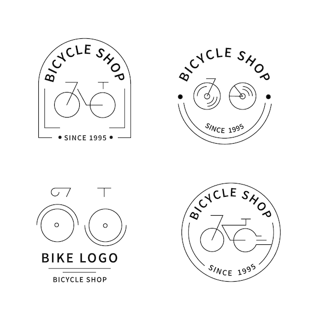 플랫 자전거 로고 컬렉션 무료 벡터