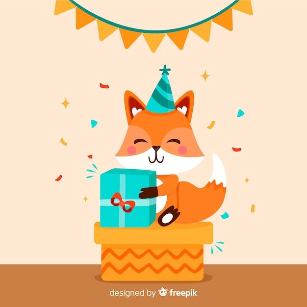 Flat birthday animal background Free Vector