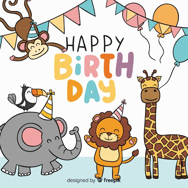 Flat birthday animal background Free Vector