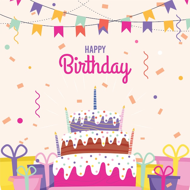 Flat Birthday Background With Cake Free Vector