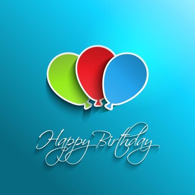 Flat Birthday Balloons Card