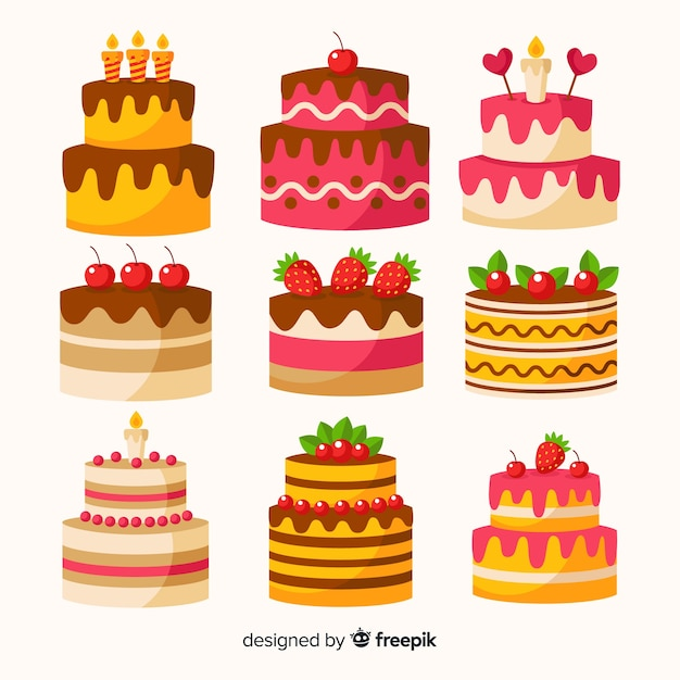 Flat birthday cake collection Free Vector