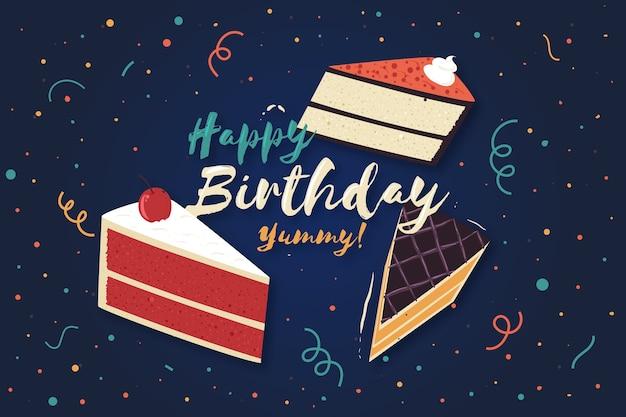 Flat Birthday Cakes Background Free Vector