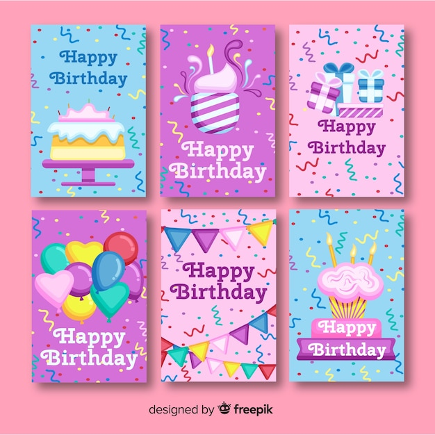 Flat birthday card collection with party elements Free Vector