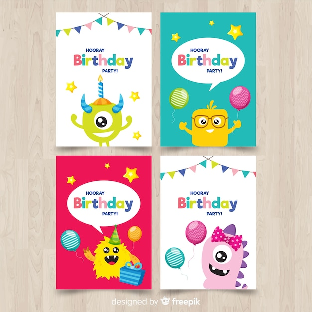 Flat birthday card collection Free Vector