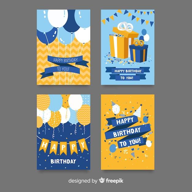 Collezione di carte di compleanno piatte Vettore gratuito