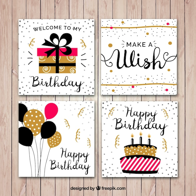 Flat birthday card set vector free download flat birthday card set free vector stopboris Image collections