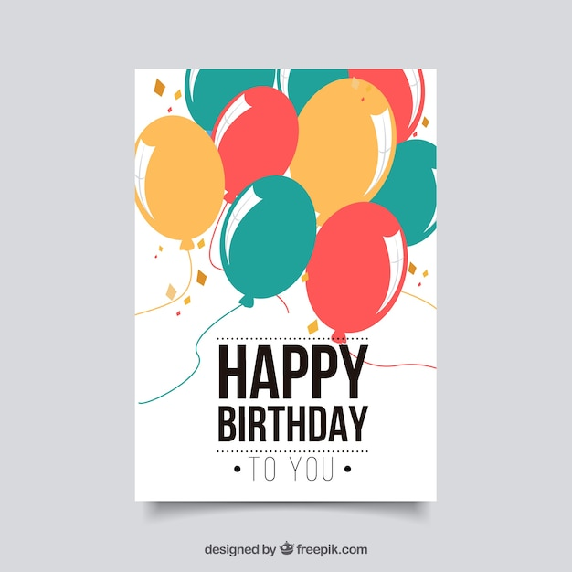 Flat birthday card with balloons Free Vector