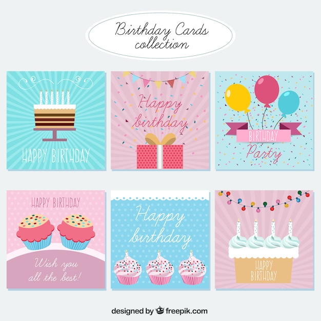 Flat Birthday Cards Collection