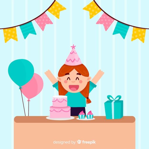 Flat birthday children background Free Vector