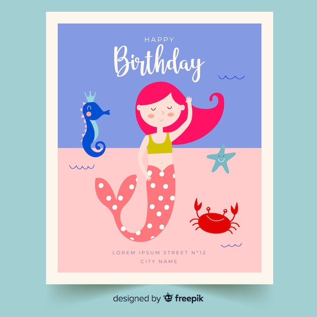 Flat birthday children Free Vector