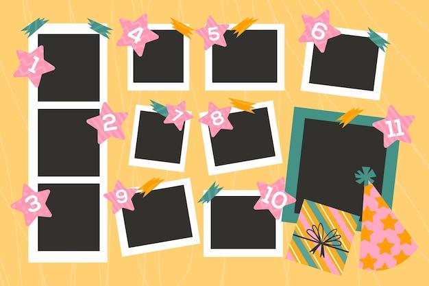 Плоская рамка для коллажей на день рождения Бесплатные векторы