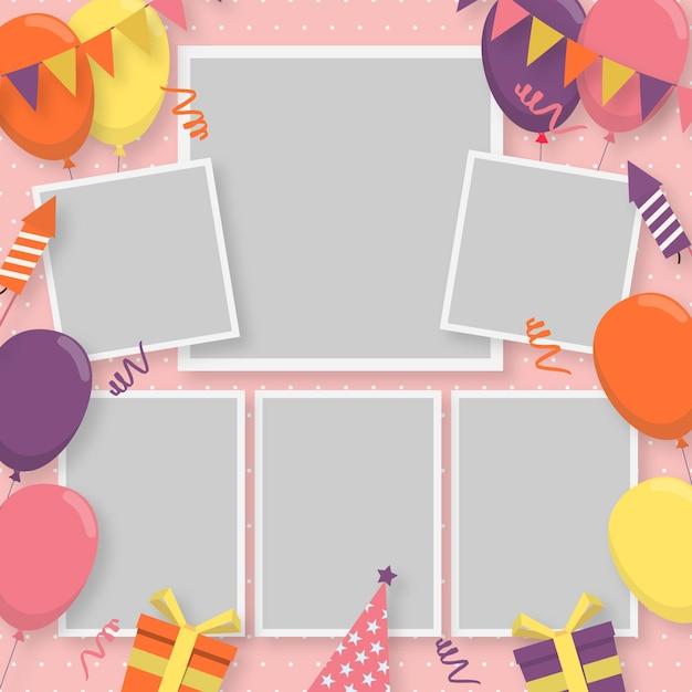 Коллекция рамок для коллажей на день рождения Бесплатные векторы