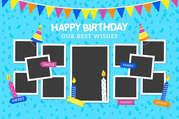Набор плоских рамок для коллажей на день рождения Бесплатные векторы