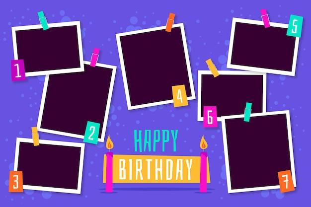Набор рамок для коллажей с днем рождения Бесплатные векторы