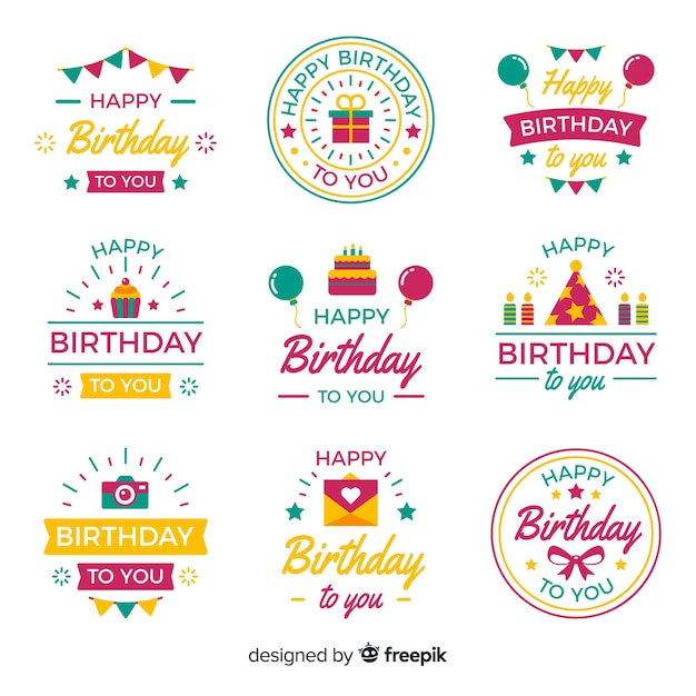 Flat birthday label collection Free Vector