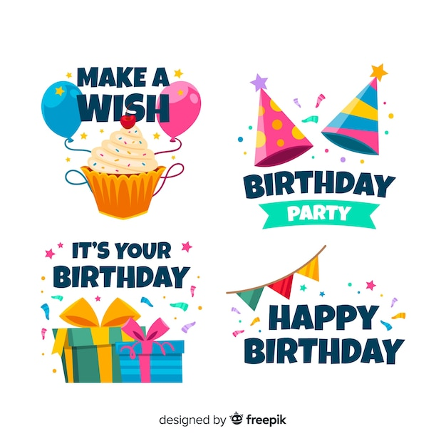 Flat birthday party label collection Free Vector