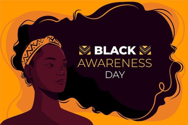 Giornata di sensibilizzazione nera piatta Vettore gratuito