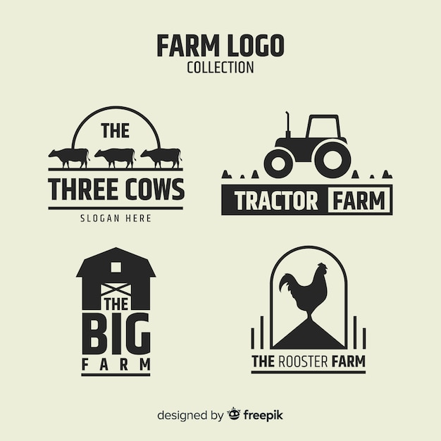 Flat black farm logo collection Free Vector