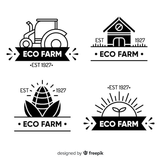 Flat black farm logo collection Free Vector