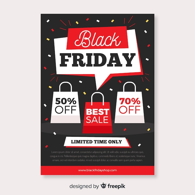 Flat black friday flyer template and bags with offers Free Vector