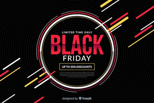 Flat black friday with circles and colourful lines Free Vector