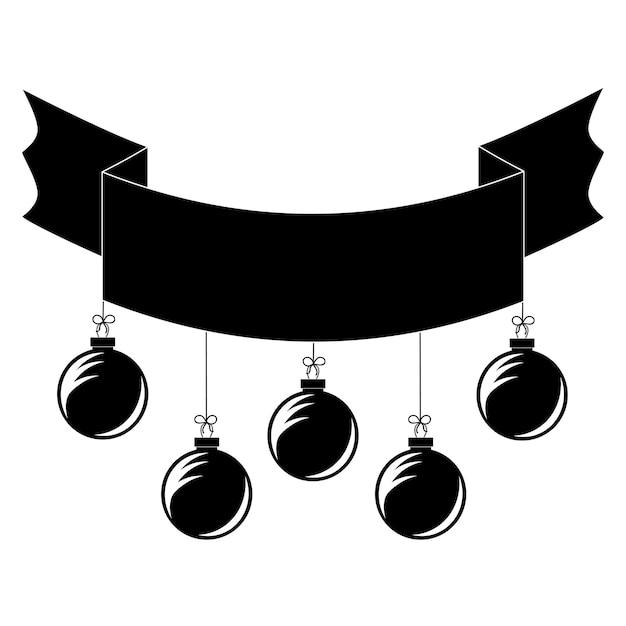 クリスマスツリーのおもちゃとフラット黒孤立リボンバナー Premiumベクター