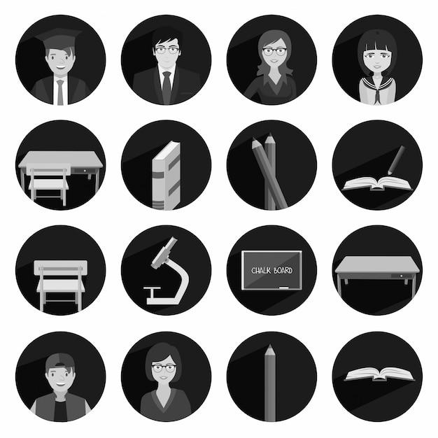 Moderno piatto icona illustrazione vettoriale raccolta con ombra lunga nei colori bianco e nero a scuola superiore e istruzione universitaria con l'insegnamento e l'apprendimento simbolo e oggetto isolato su sfondo bianco Vettore gratuito