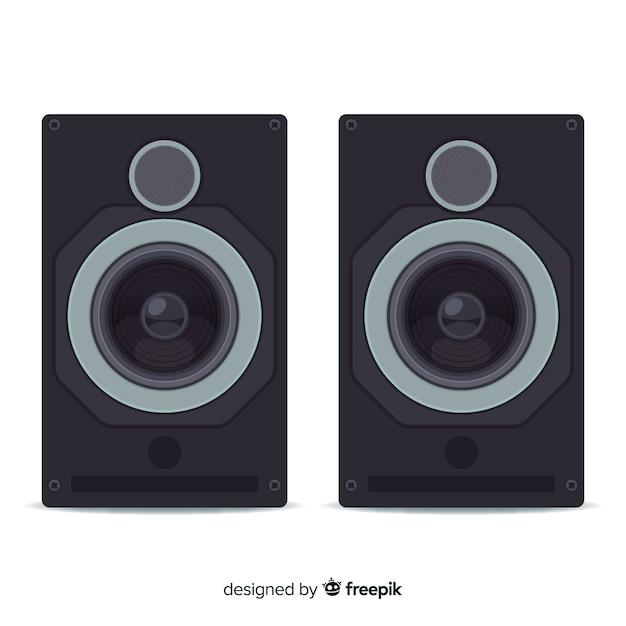 Flat black speaker background Free Vector