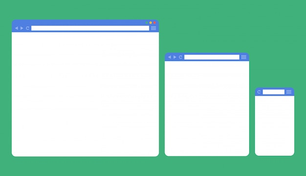 Flat blank browser windows for different devices Premium Vector