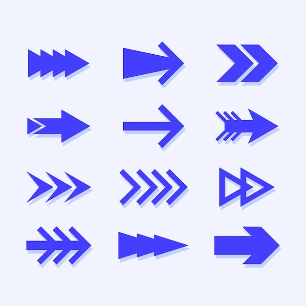 Flat blue arrow collection Free Vector