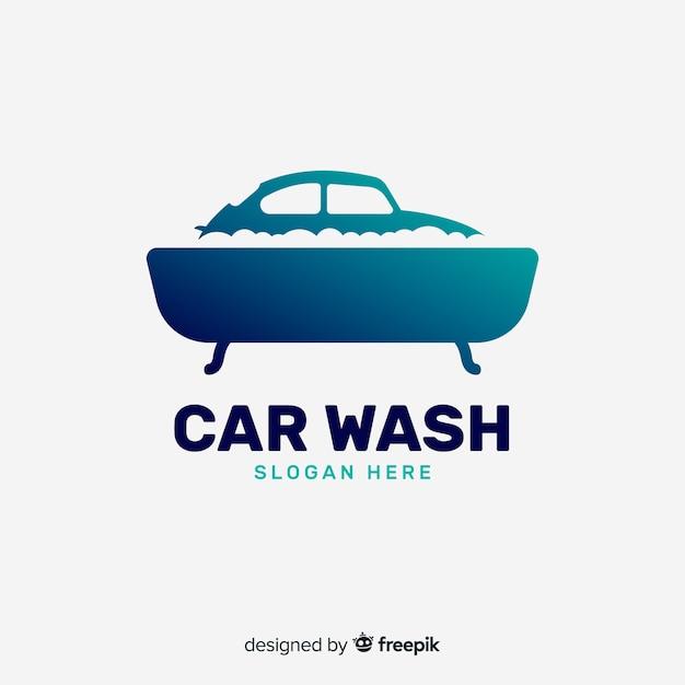 Flat blue car wash logo Premium Vector