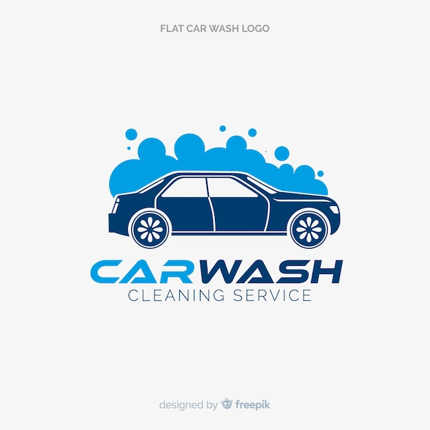 Flat blue car wash logo Free Vector
