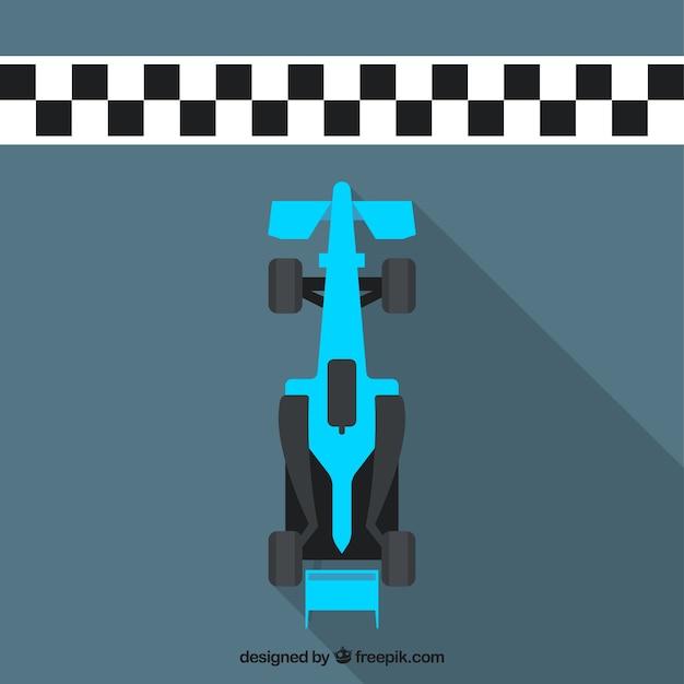 Flat blue f1 racing car crosses finish line Free Vector