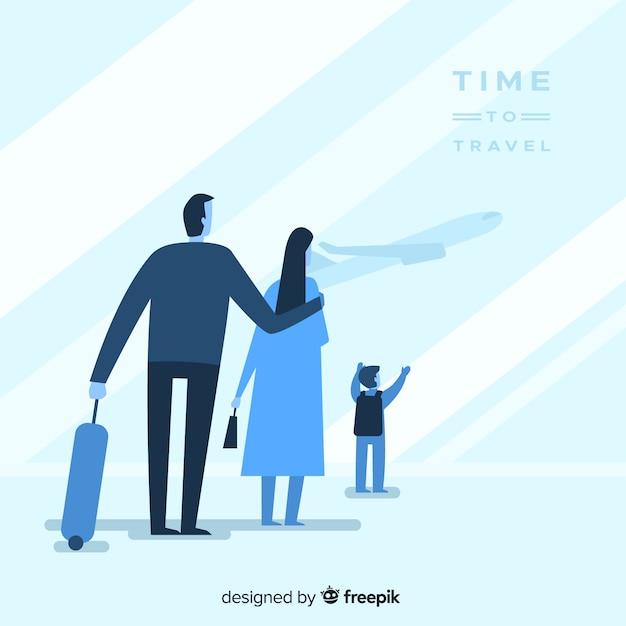 평평한 블루 가족 여행 배경 무료 벡터