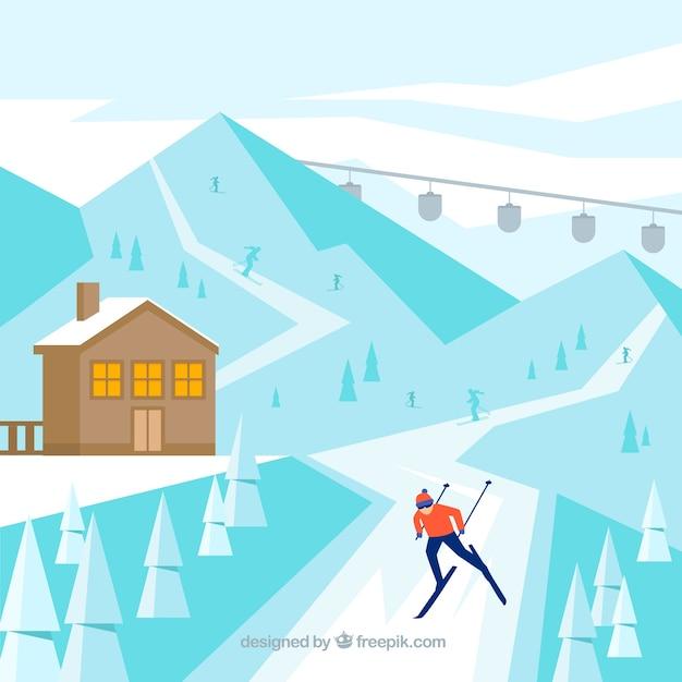 Flat blue ski resort design vector free download for Design skihotel