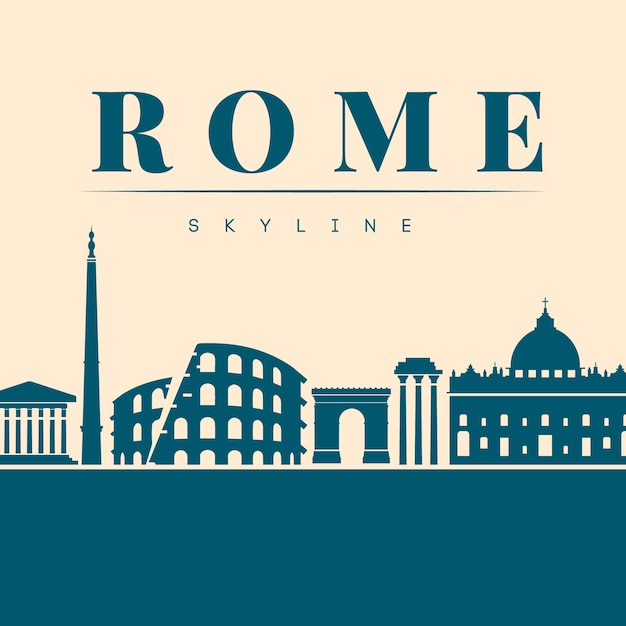 Flat blue skyline of rome Free Vector