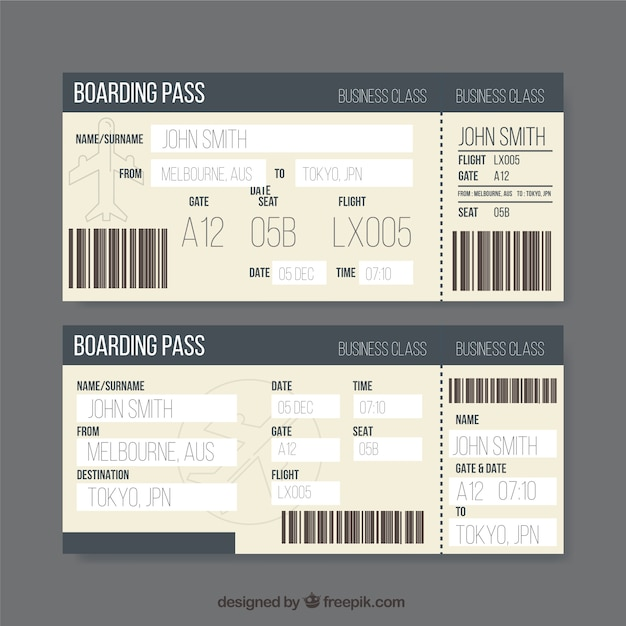 Flat boarding pass template Vector | Free Download