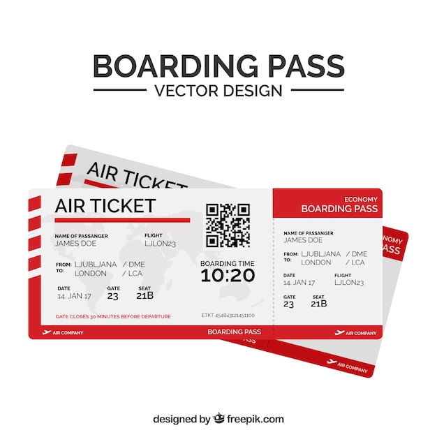 Flat boarding pass with qr code and red shapes Free Vector